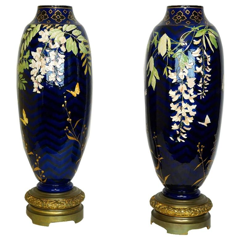 Tall Pair Of Cobalt Blue Porcelain And Bronze Vases With Floral