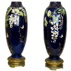 Tall Pair of Cobalt Blue Porcelain and Bronze Vases with Floral Decorations