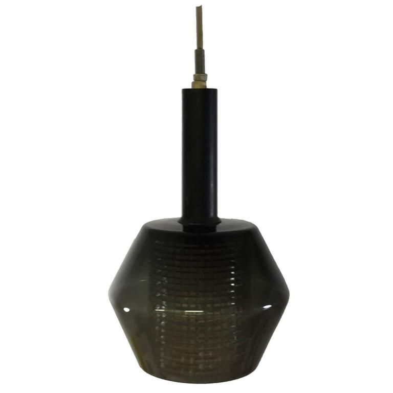 Lightolier Ring Chandelier At 1stdibs: 1960s Smoke Glass Lightolier Pendant Light Fixture At 1stdibs