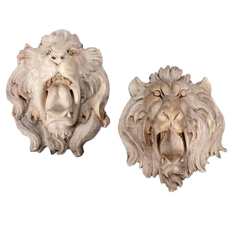Pair Of Italian Carved Marble Lion Heads At 1stdibs