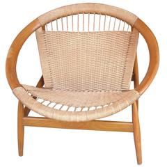 "Illum Wikkelsø ""Ringstol"" Ring Chair, Rope, Walnut, Stamped"