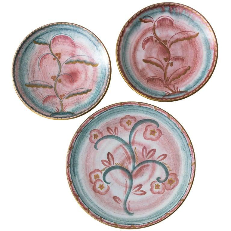 Scandinavian Modern Josef Ekberg for Gustavsberg Art Deco Floral Ceramic Plates For Sale