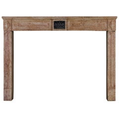 18th Century Original Antique Fireplace Mantel with Black Marble Inlay