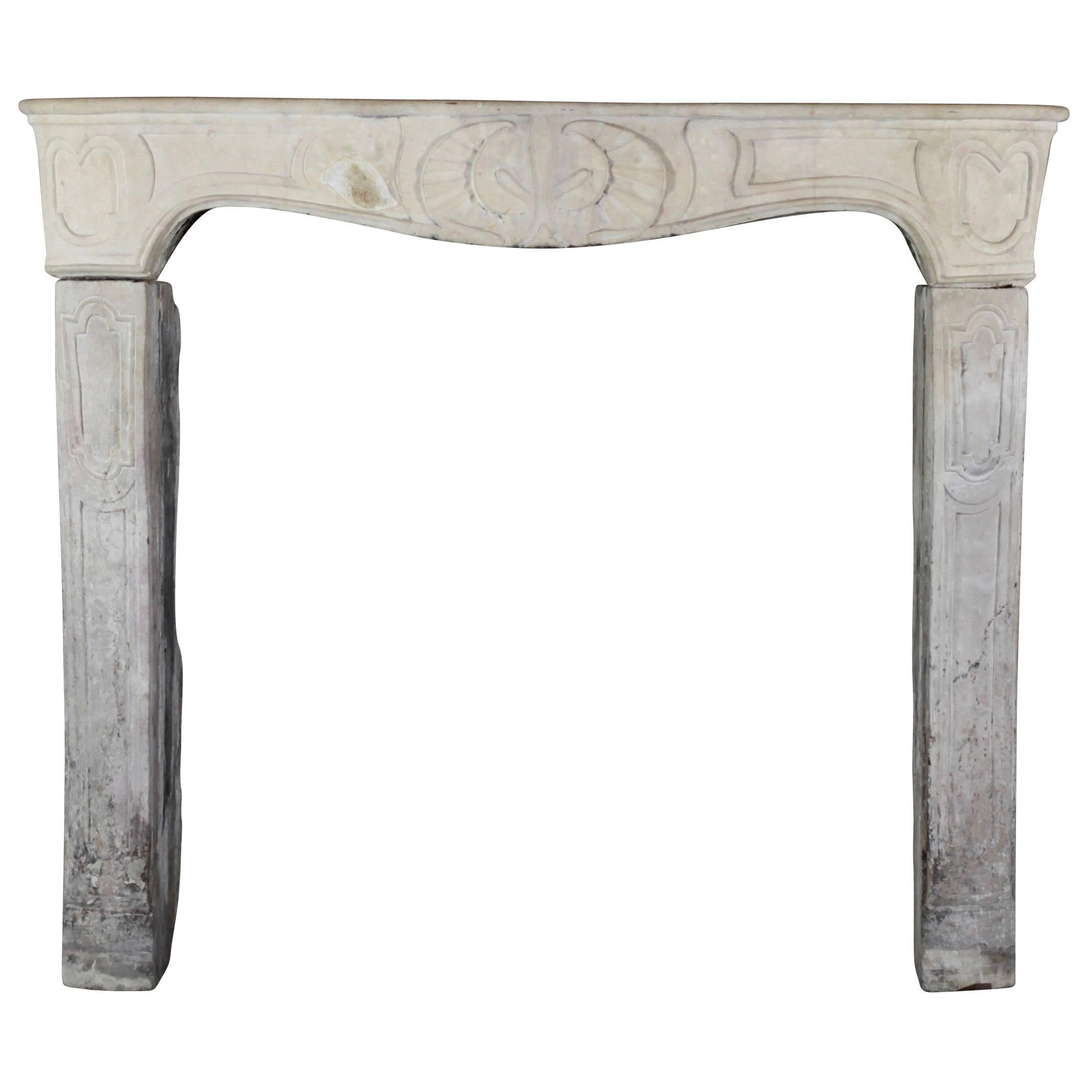18th Century Limestone Country Antique Fireplace Mantel
