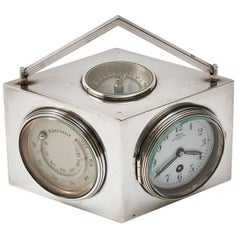 French Art Deco Lozenge Shaped Silver Novelty Combination Clock, circa 1920
