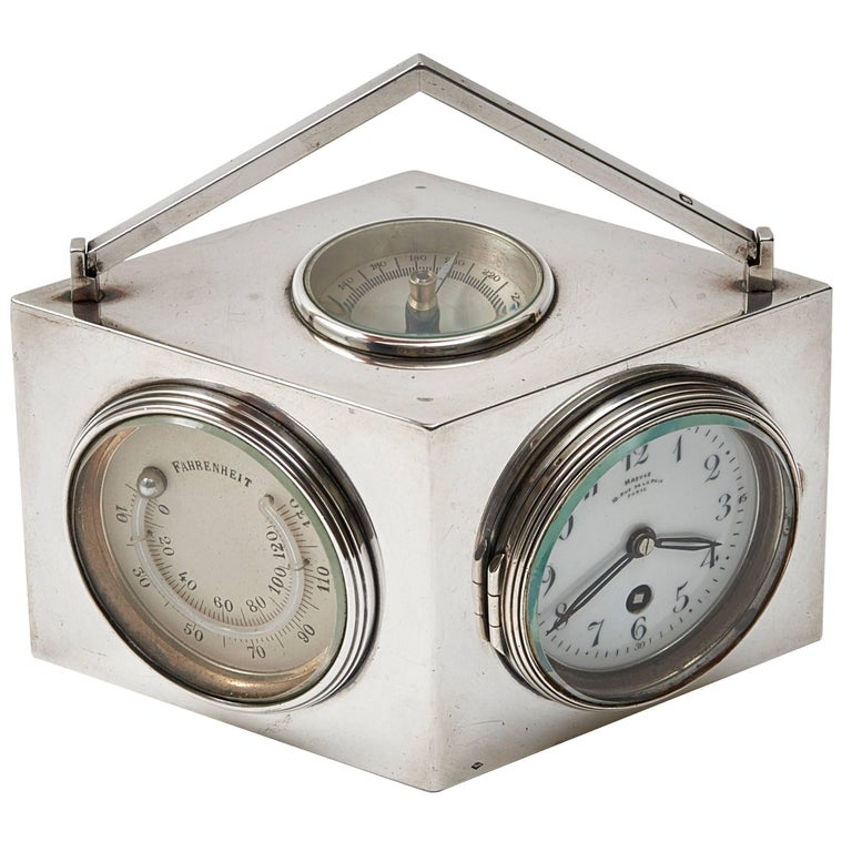 French Art Deco Lozenge Shaped Silver Novelty Combination Clock, circa 1920 For Sale