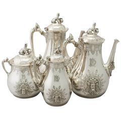 American Sterling Silver Four-Piece Coffee Service, Empire Style, Antique