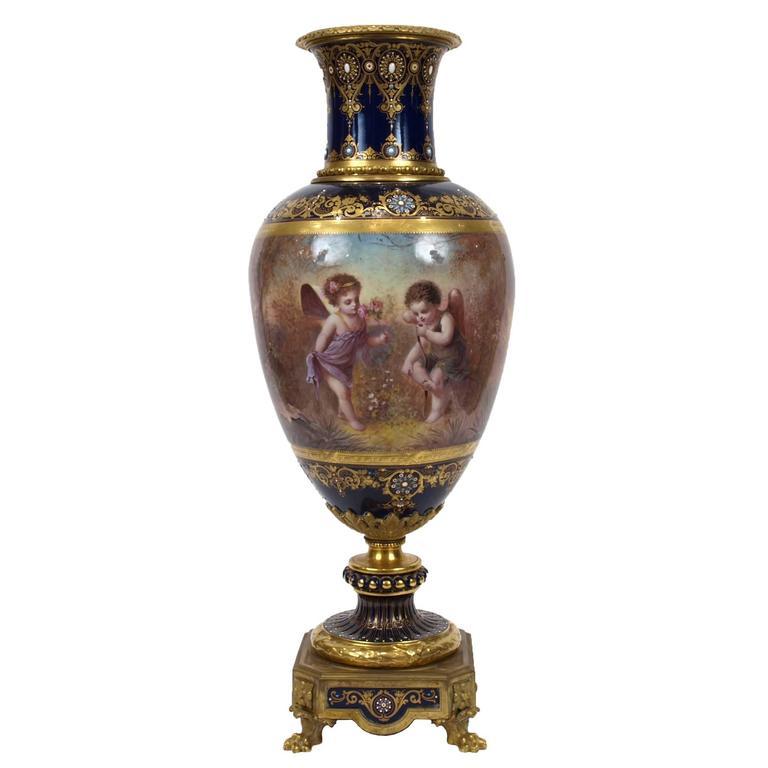 Very Fine Ormolu-Mounted Sèvres Style Porcelain Vase