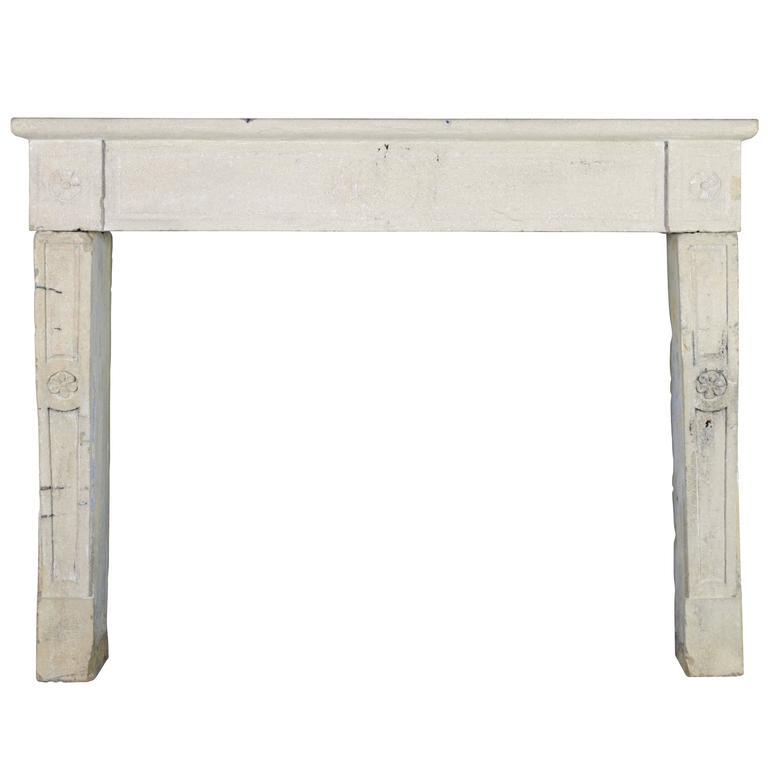 17th Century Limestone Antique Fireplace Mantel
