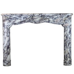 18th Century Original Antique Fireplace in Breche Violet Marble