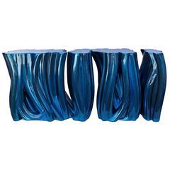 Glänzende Blaue Konsole aus Poliertem und Lackiertem Polyurethanschaum