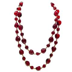 KJL Opera Length Ruby Red Bead and Gold Plate Necklace, Signed