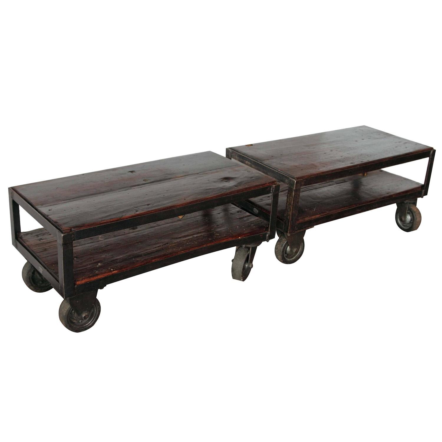 Industrial Coffee Table On Wheels At 1stdibs: Industrial French Factory Cart Table, Circa 1940s For Sale