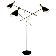 Black Lounge Floor Lamp Aluminium and Brushed Brass