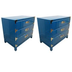 Pair of Ocean Blue Lacquered Campaign Chests