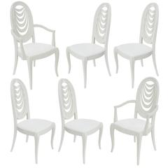 Set of Six Lacquered Dining Chairs with Draped Fabric Motif