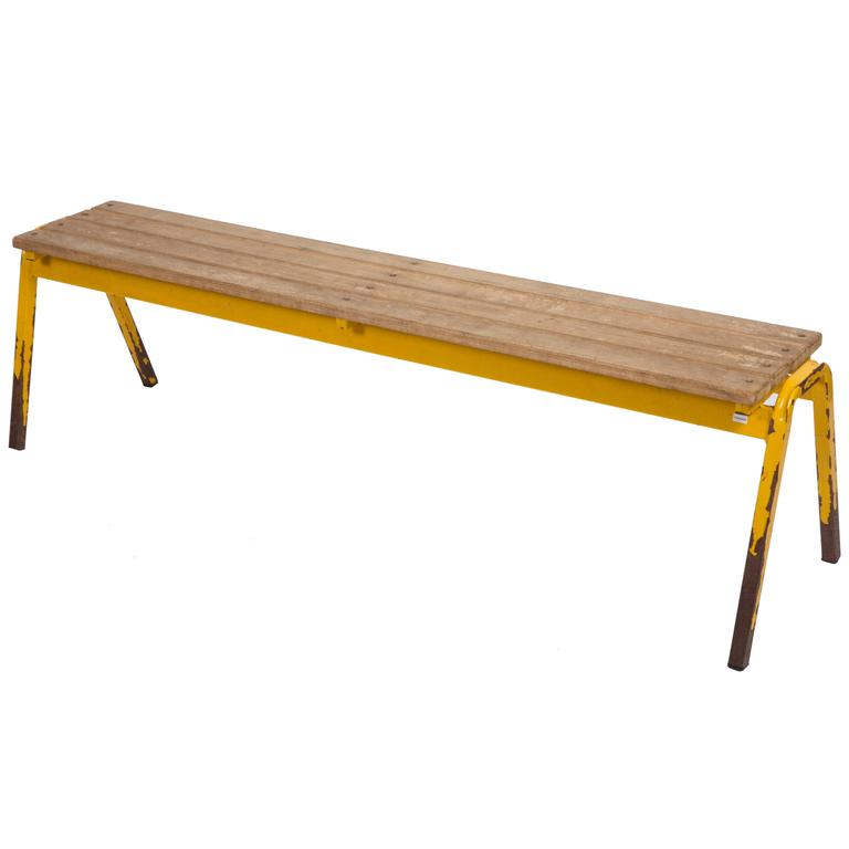 Vintage Industrial School Bench For Sale