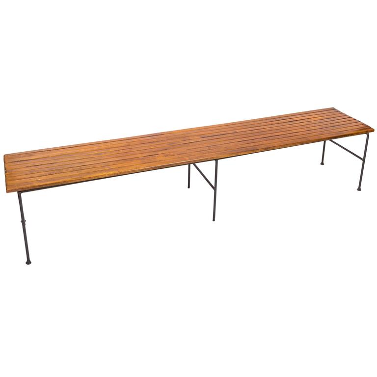 Wooden Slatted Bench by Arthur Umanoff 1