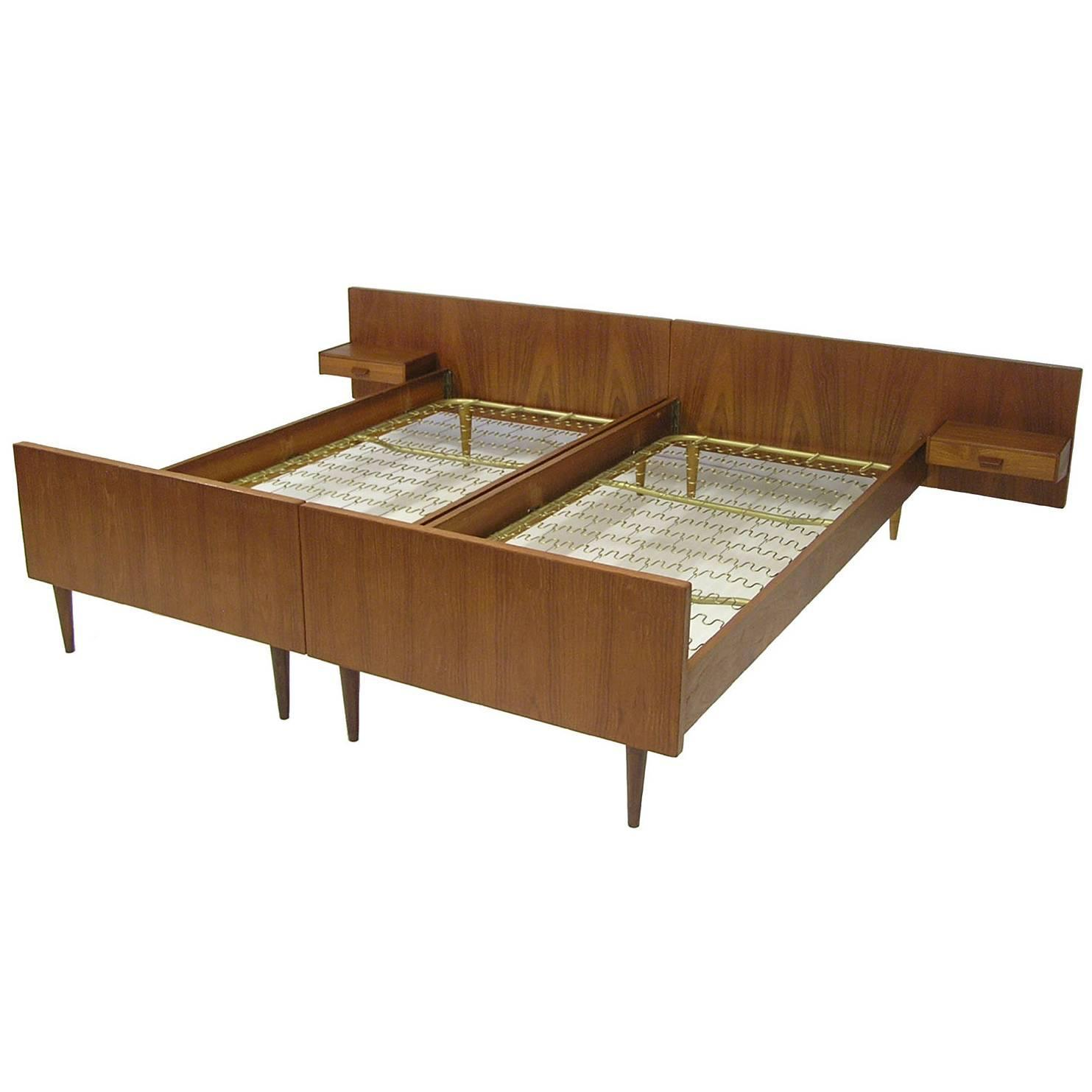 1960s danish teak single beds with night tables pair at 1stdibs - Teak Bed Frame