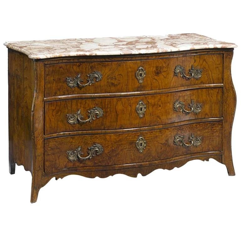 18th Century Italian Rococo Elmwood Commode with Marble Top