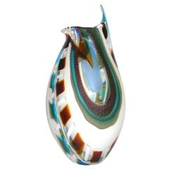 1990 Afro Celotto Modern Art Glass Bowl with Murrine Exclusive for Seguso