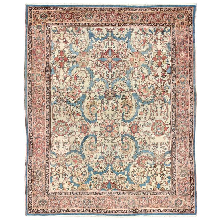 Antique Persian Sultanabad Rug With Ivory Background For