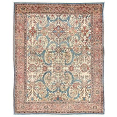Antique Persian Sultanabad Rug in Ivory Background, Blue, Salmon & Multi Colors