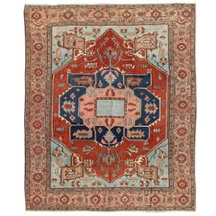 Antique Persian Serapi Carpet in Antique Red, Light Blue and Salmon Colors