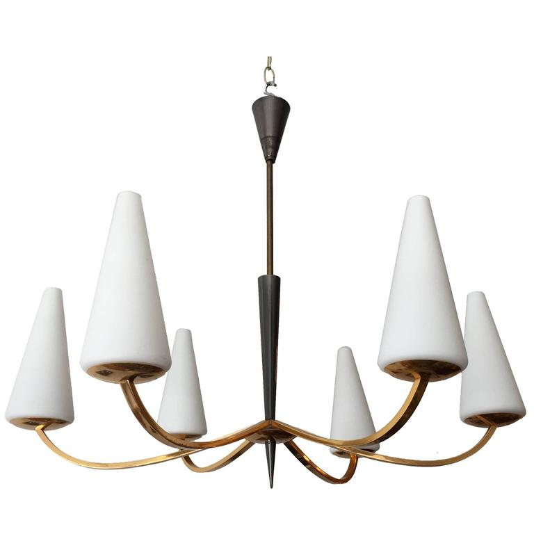 1960s French Lunel Modern Chandelier 1