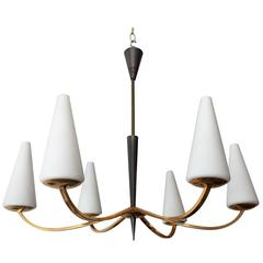 1960s French Lunel Modern Chandelier