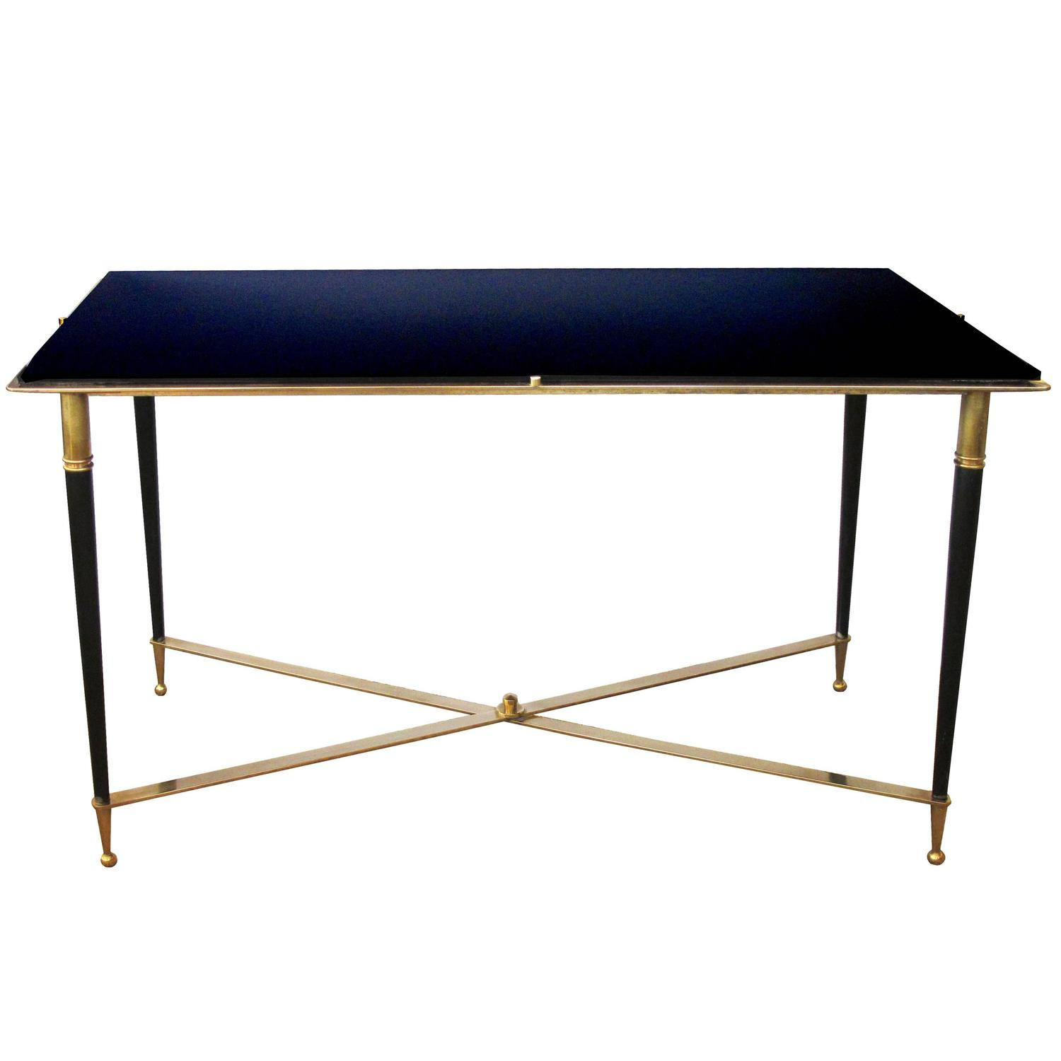 Chic French Rectangular Brass And Metal Cocktail Table With Black Glass Top At 1stdibs