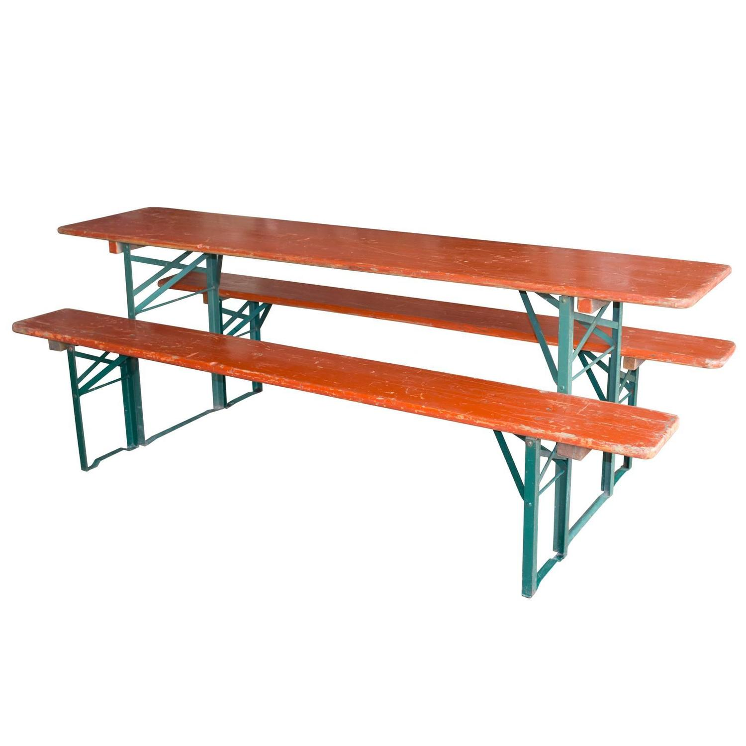 Vintage German Beer Festival Table And Benches For Sale At