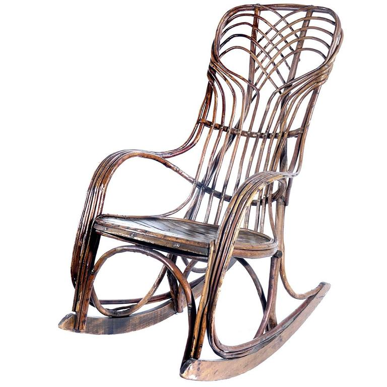 classic 1910 rustic adirondack bentwood rocker at 1stdibs. Black Bedroom Furniture Sets. Home Design Ideas