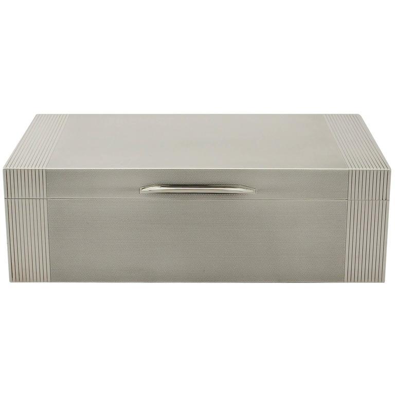 Sterling Silver Cigar/ Cigarette Box, Art Deco Style, Vintage George VI