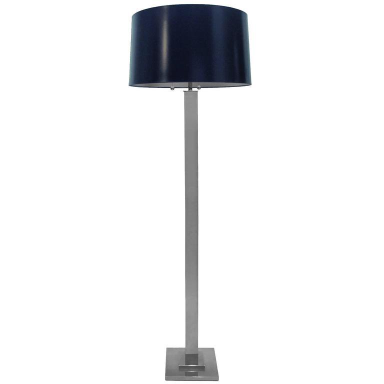 1970s chrome column floor lamp with navy blue tapered drum for Chrome floor lamp with tapered shade silver