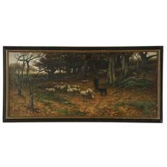 American Landscape Painting of Shepherd with Sheep by John Carleton Wiggins