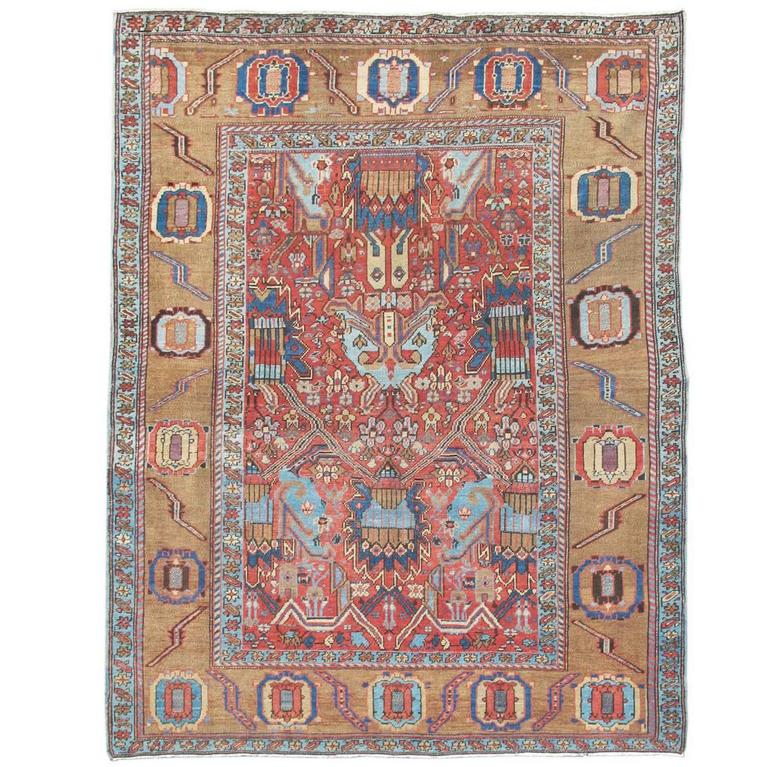 Late 19th Century Red and Camel Bakhshaish Carpet with Palmettes
