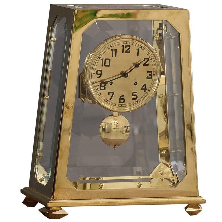 Adolf Loos Jugendstil Mantelpiece-Clock Solid Brass Facetted Glass , Re-Edition  For Sale
