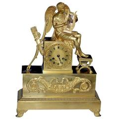 Clock Mantle Gilt Bronze Neoclassical Empire French 19th Century France
