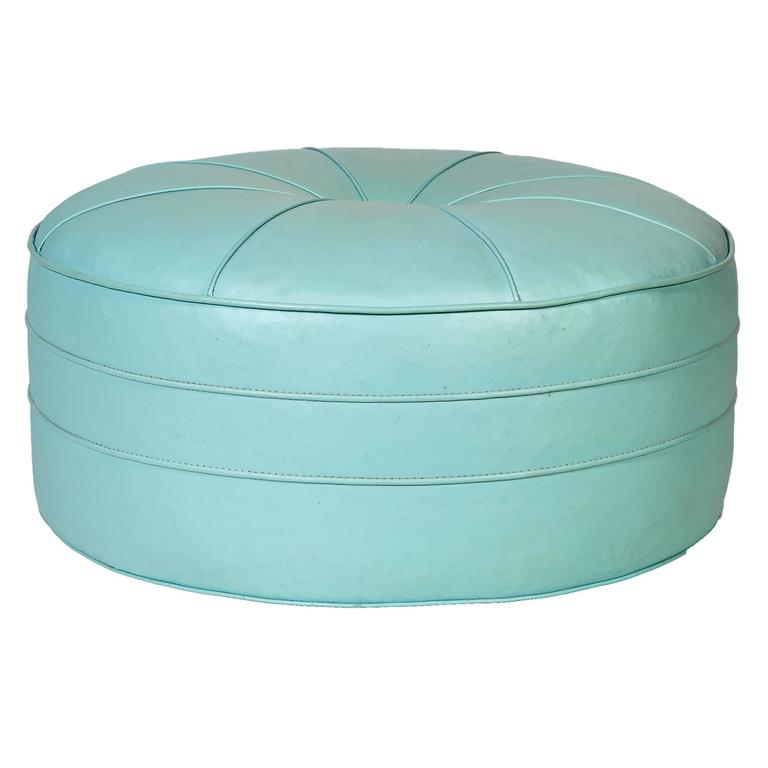 1960s Turquoise Over-Sized Round Pouf / Ottoman