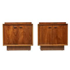Pair of 1960s Walnut Brutalist Style Nightstands