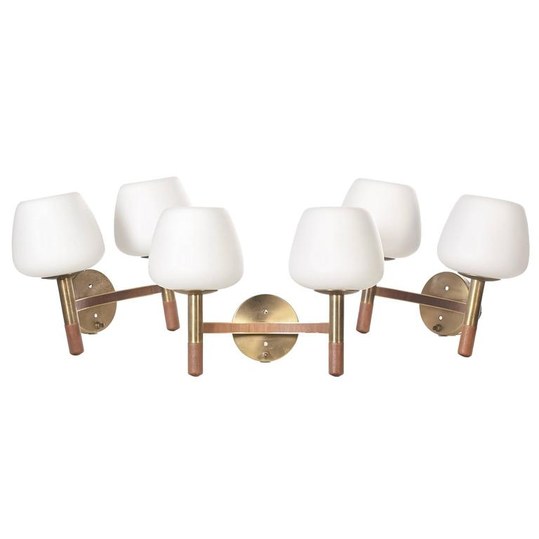1960s Walnut and Brass Wall Sconces with Finnish Glass Shades, Set of Three at 1stdibs
