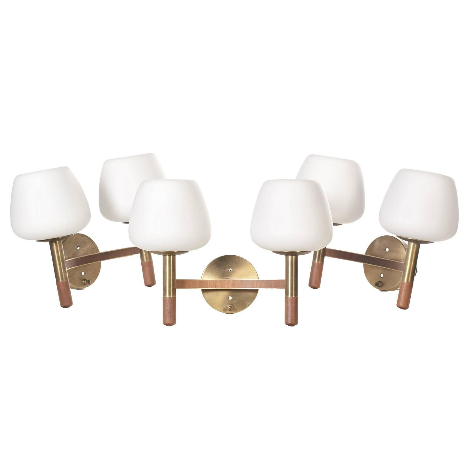 Wall Sconces Glass Shades : 1960s Walnut and Brass Wall Sconces with Finnish Glass Shades, Set of Three at 1stdibs