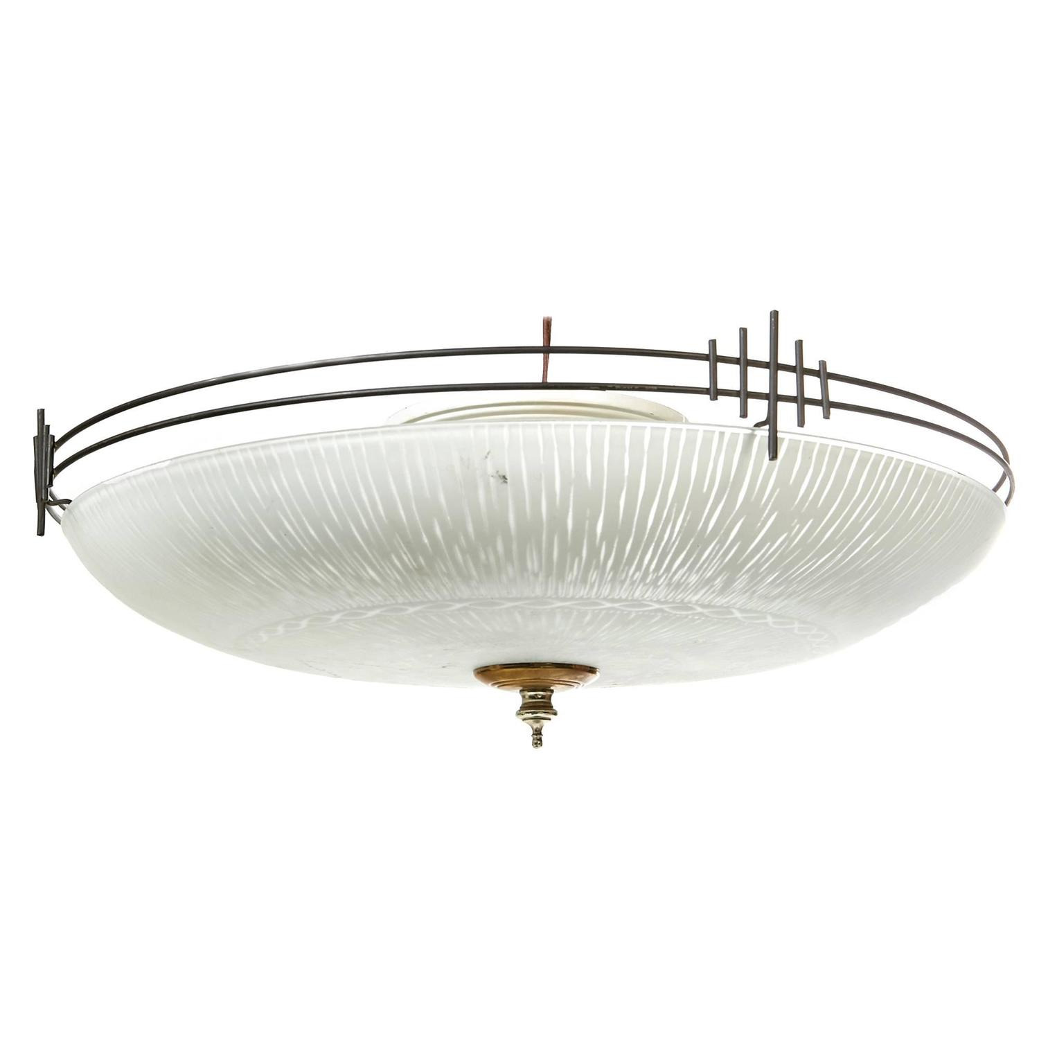 Art Deco Style Black Metal Large Flush Mount Ceiling Light