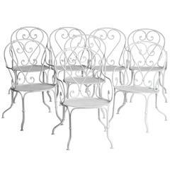 Eight French Wrought Iron Garden Armchairs, circa 1900