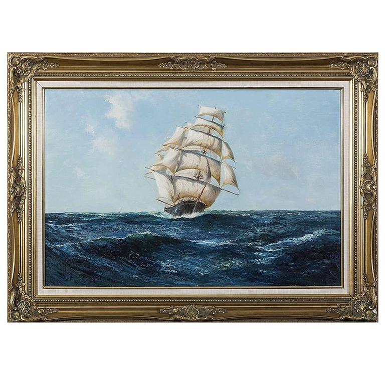 """Clipper in Rough Seas"" Painting by Daniel Sherrin"