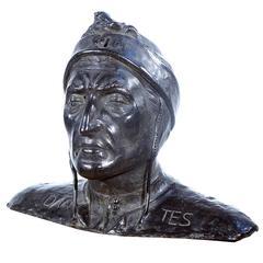 Bust of the Italian Poet Dante, Bronze Sculpture