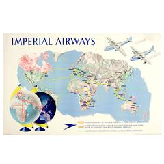 Original 1938 Imperial Airways Travel Advertising Poster, Speedbird Route Map