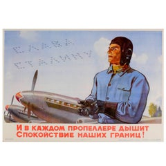Original Soviet Propaganda Poster Glory to Stalin Featuring an Air Force Pilot