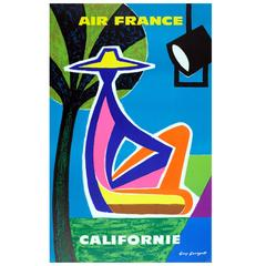Original Vintage Air France Travel Poster by Guy Georget Advertising California